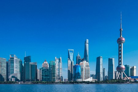 Shanghai Shoreline Showcasing World Financial Center