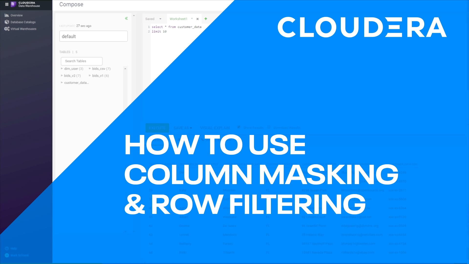 How to use Column Masking and Row Filtering in CDP