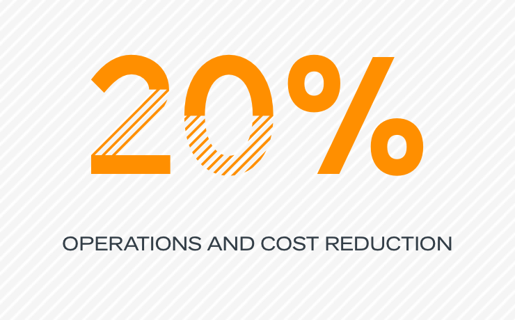 20% operations and cost reduction
