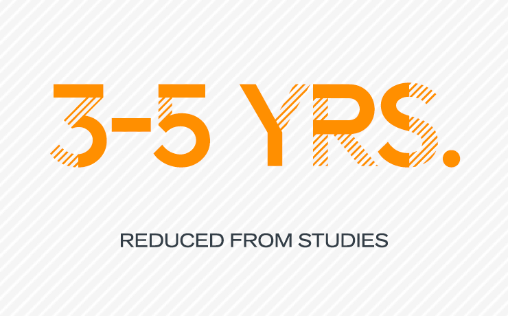 3-5 years reduced from studies