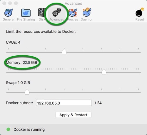 docker-memory-settings