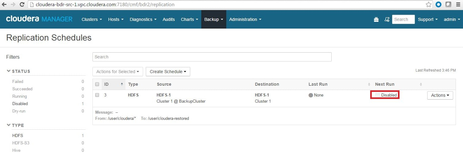 How To Back Up and Restore HDFS Data Using Cloudera Enterprise BDR