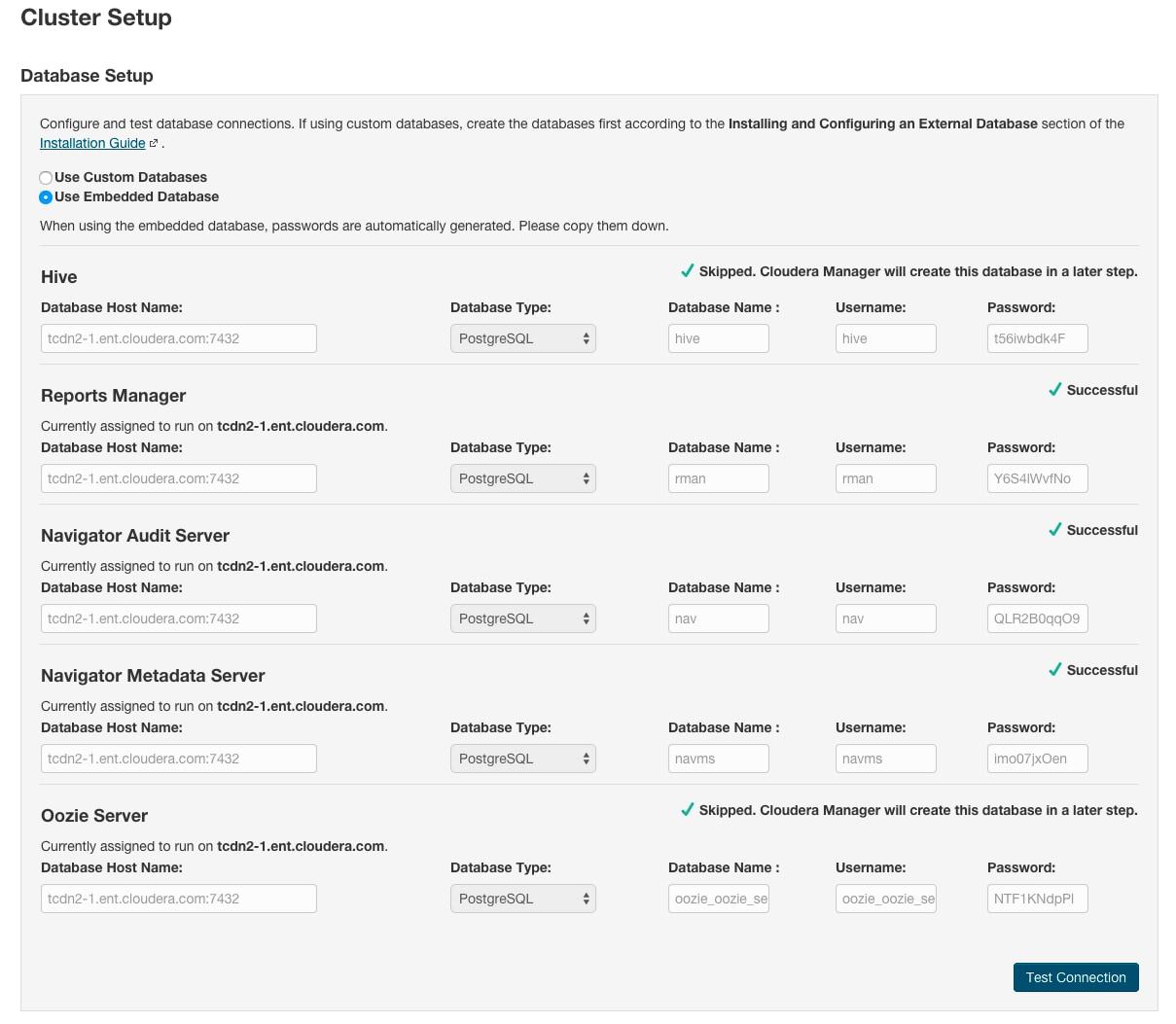 Managing the Embedded PostgreSQL Database | 6 3 x | Cloudera